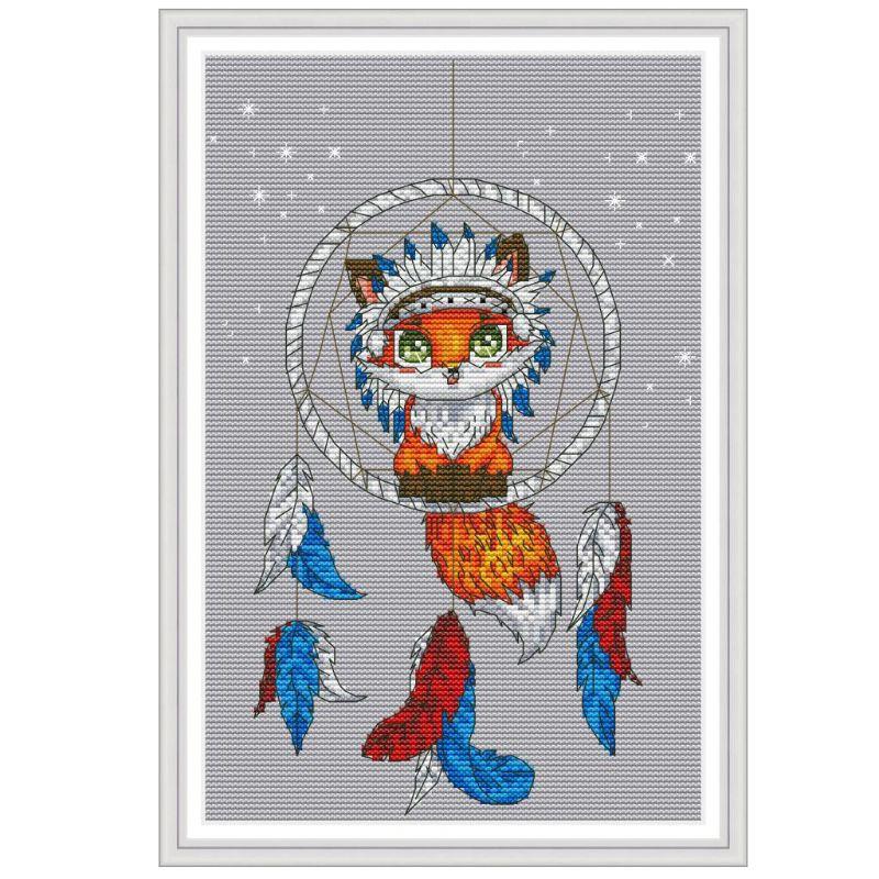 Fox Dream Catcher DIY Handmade Needlework Counted Cross Stitch Embroidery Kit Set 14CT