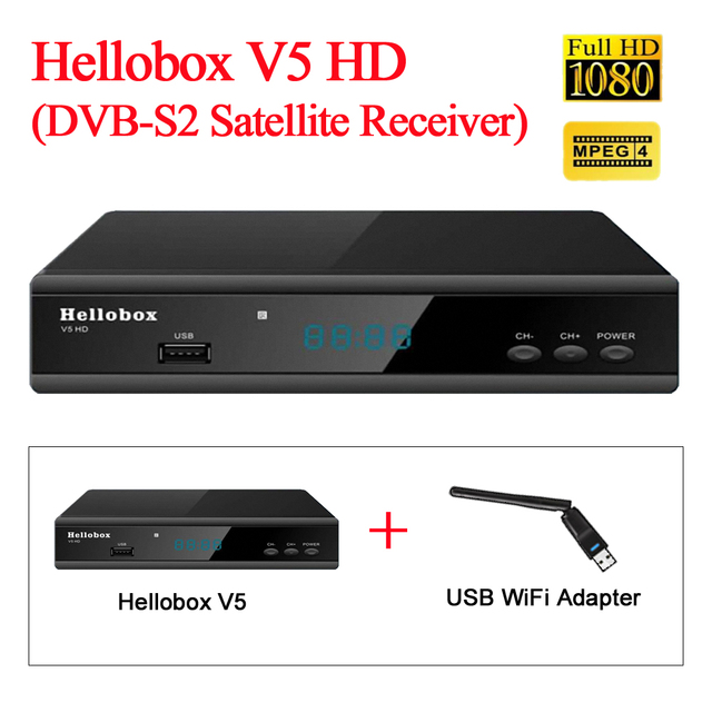 US $38 0 | Powervu receiver hellobox v5 with wifi adapter watch  Intelsat19(166E)/Measat3(91 5E)/Intelsat20(68 5E) -in Radio & TV Broadcast  Equipments
