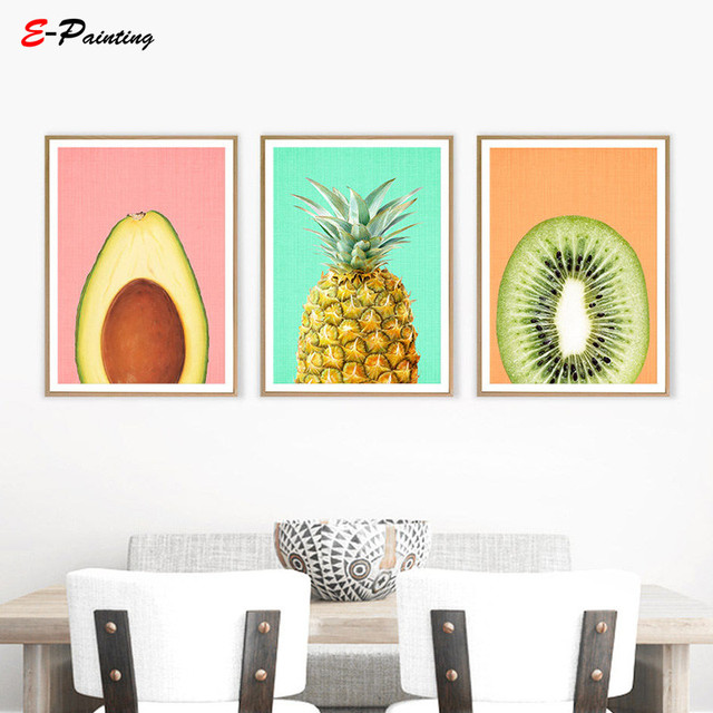 Modern Painting Canvas Pineapple Print Fruit Wall Art Kitchen Decor  Tropical Printable Large Poster Modern Minimalist