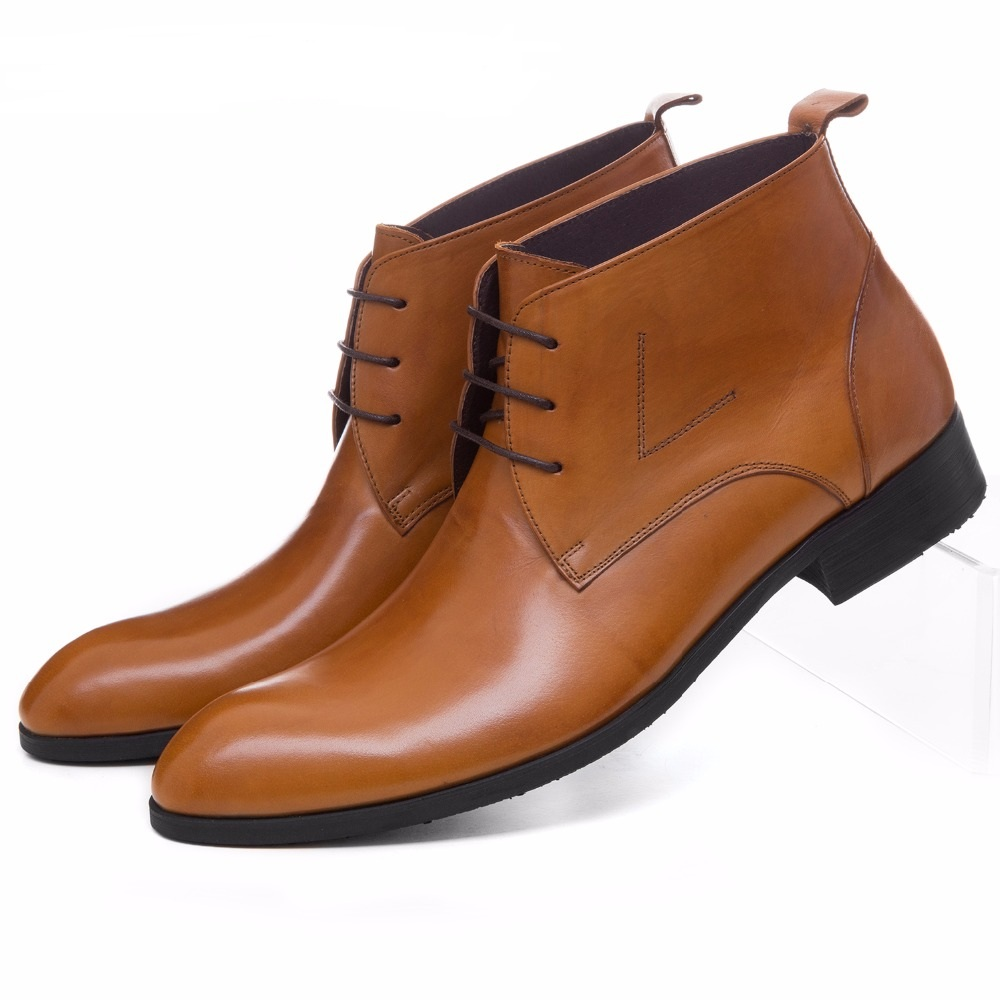 Large size EUR45 brown /black / brown tan mens ankle boots dress shoes genuine leather mens business boots office shoes fashion black brown mens ankle boots formal shoes genuine leather dress boots mens motorcycle boots outdoor casual shoes