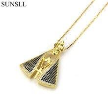 f6760ae3881e SUNSLL Color oro de cobre azul blanco Cubic Zirconia Cross colgante collares  de joyería de moda CZ Colar femenina