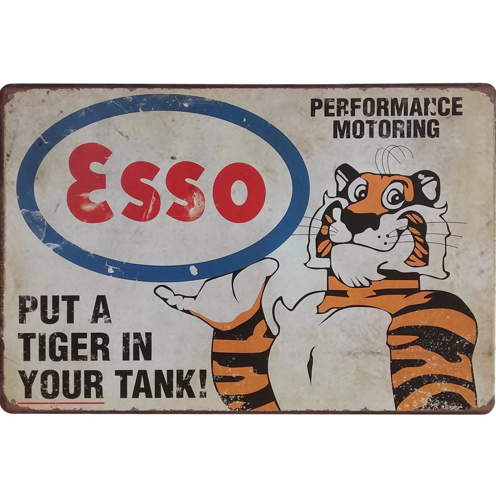 Neon Metal Sign Retro Esso Tiger Decor Tin Plaque Tin Gasoline Plate American Style Vintage Car Garage Rectangle Poster 20x30cm