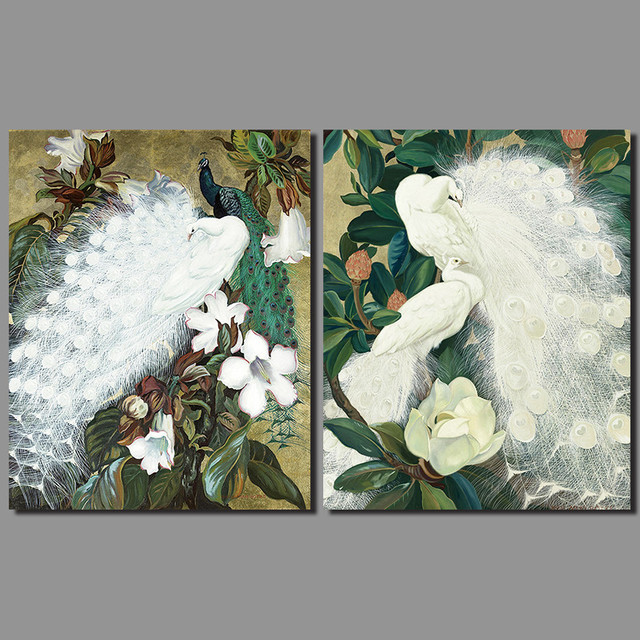 Retro Animal White Peacock Feather Decoration Wall Art Picture Forest Flower Tree Canvas Painting For Living