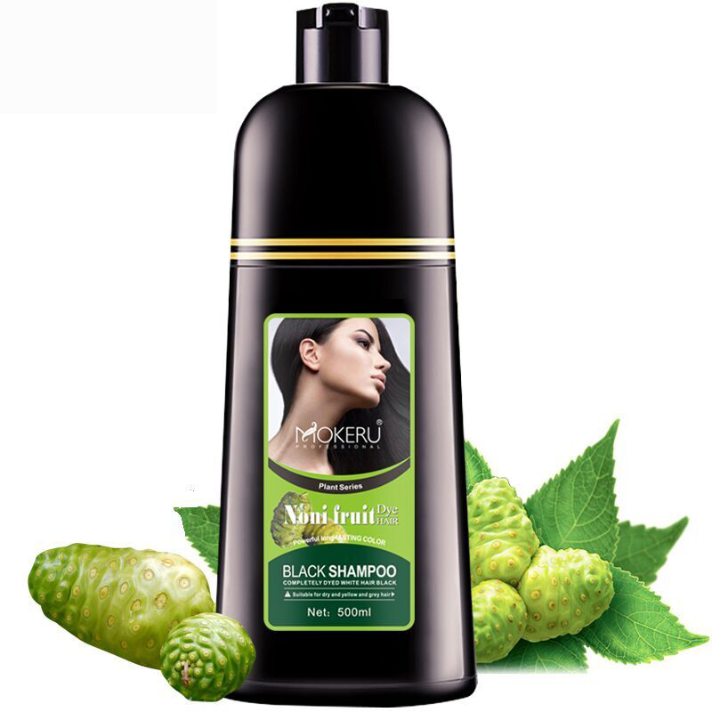 Mokeru 1pc Natural Organic Noni Fruit Extract Black Hair Dye Shampoo Gray Hair Cover Permanent Hair Color Shampoo