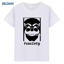 Sr. robot fsociety anónimo máscara fsociety 2017 Camiseta de manga corta  para hombre hip-hop hombres camiseta algodón negro cami. 29bc1e0c4ac