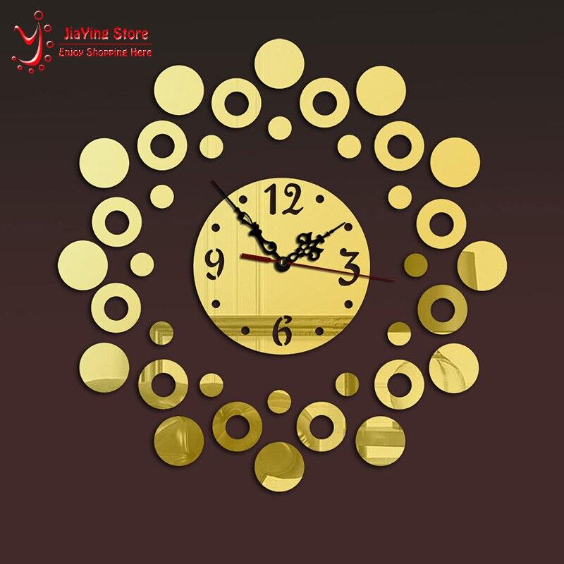 New Crystal Large Wall Clock Modern Design DIY Mirror Vintage Wall Clock 3D Acrylic Quartz Watch With Needle Mechanism