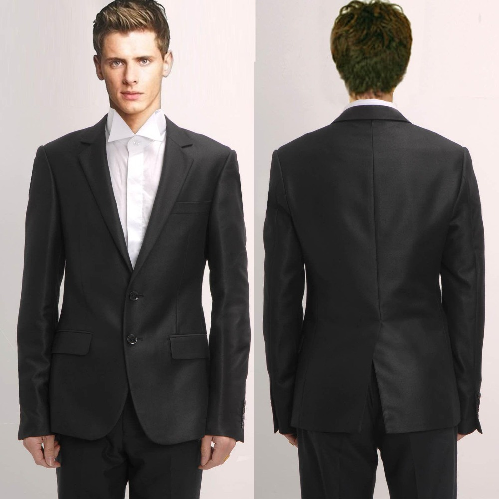 Online Shop 2015 Perfect Black Men Suit Slim Fit Business Suits ...