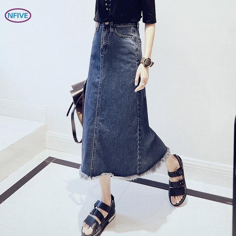 Nouvelle Coréenne Droite Gland 1 Marque Solide Femme Jean Jupe Mode Mendiant Tout Décontracté Bleu Coton Nfive Printemps allumette 2018 En F1J35uKcTl