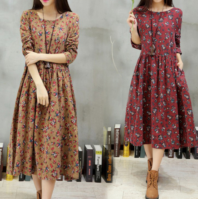 Plus Size Dress Women 2018 Spring Summer Floral Dress Cotton Linen