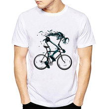 T shirt Men New Worn out Bikes Tshirt Funny Skeleton bicycle Design Short Sleeve O-neck Tshirts Fashion Skull male hipster Tops(China)