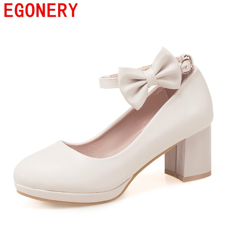 EGONERY Women Fashion Buckle Ladies Shoes Platform High Heels round toe plus size 34-43 woman spring sweet shoes casual pumps
