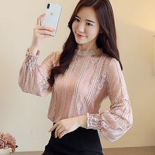 цены Mesh stitching Lace tops korean 2018 new fashion round neck  long sleeve Floral  lace shirt casual clothing women blouse 823H5