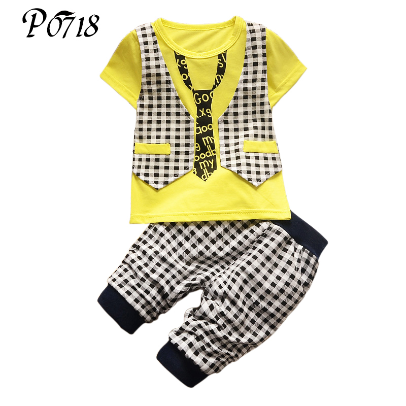 Fashion Children Boy 2018 Summer Clothing Set Kids Clothes Set Gentleman Suit Boys Short Sleeve T-shirt + Pants Scottish Lattice new 2018 spring fashion baby boy clothes gentleman suit short sleeve stitching plaid vest and tie t shirt pants clothing set