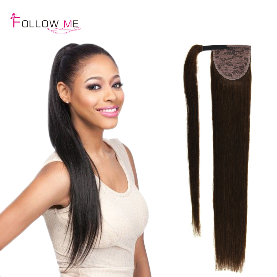 Unprocessed Real Human Hair Straight Drawstring Ponytail Malaysian