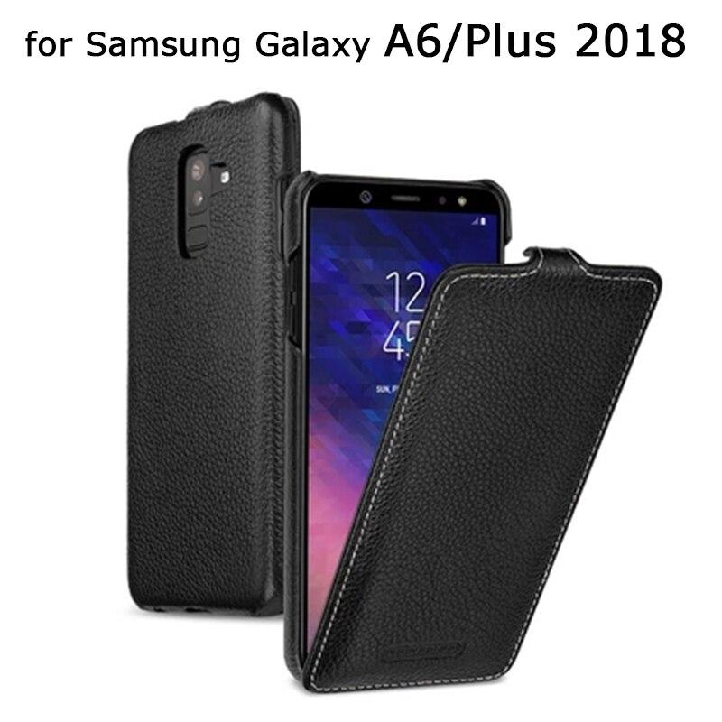 Fait Main de luxe En Cuir Véritable étui pour Samsung Galaxy A6 2018 Version D'affaires Flip coques de téléphone pour Samsung A6 Plus 2018