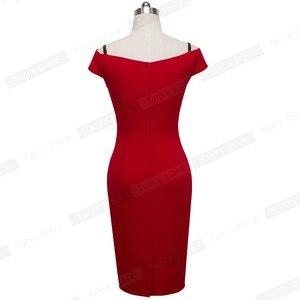 Image 4 - Güzel sonsuza kadar yeni seksi zarif katı şık rahat iş kayış Slash boyun Bodycon diz Midi kadın resmi kalem elbise b309