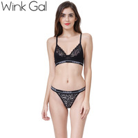 2017 Wink Gal Sexy Hot Bra Set Embroidery Lace Lingerie Ultra Thin Transprant Underwear W12071