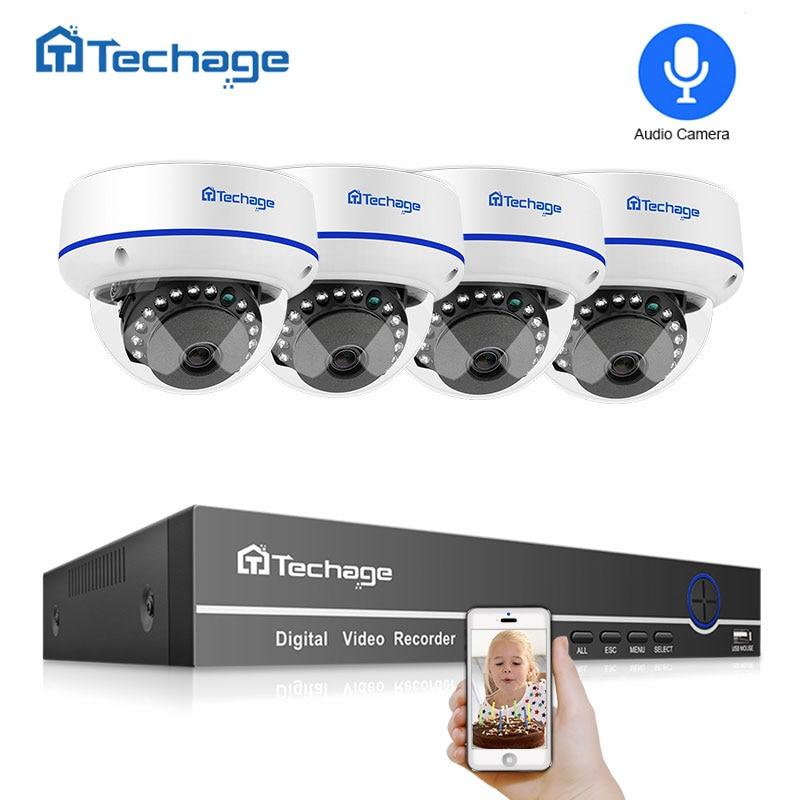 Techage 4CH 1080 P POE kit nvr caméra de sécurité système cctv Enregistrement Audio IP dôme intérieur Caméra P2P APP Vue Vidéo Surveillance Ensemble