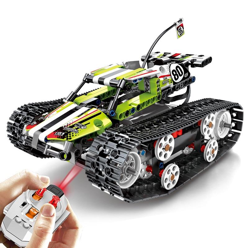 تكنيك RC مدينة تتبع المركبات اللبنات متوافق الطاقة الكهربائية على الطرق الوعرة المسار السيارات Legoed الطوب ألعاب أطفال-في حواجز من الألعاب والهوايات على  مجموعة 2