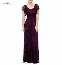 Einfache V-ausschnitt V Zurück Rüsche Ärmel Lange Formale Kleid Lila Drapierte Chiffon-Eine Linie Brautjungfernkleider 2016