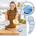6 piezas de silicona elástico tapas envolver alimentos tazón olla tapa Pan Universal tapa de silicona para utensilios de cocina accesorios de cocina