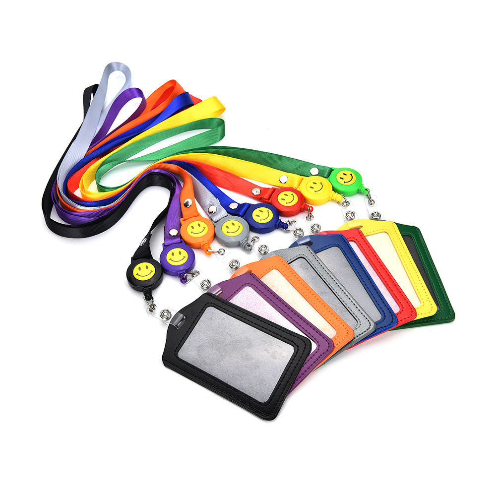 1PCS ID Card Holder Smile Face Reel Lanyard Name Credit Card Holders Bank Card Neck Strap Card ID Holders Identity Badge Головная гарнитура