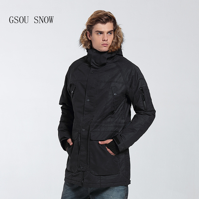 GSOU SNOW new Men's ski suit Super Warm Fur Hooded Winter snow Jacket Windproof Waterproof Ski Snowboard male Jacket Plus Size недорого