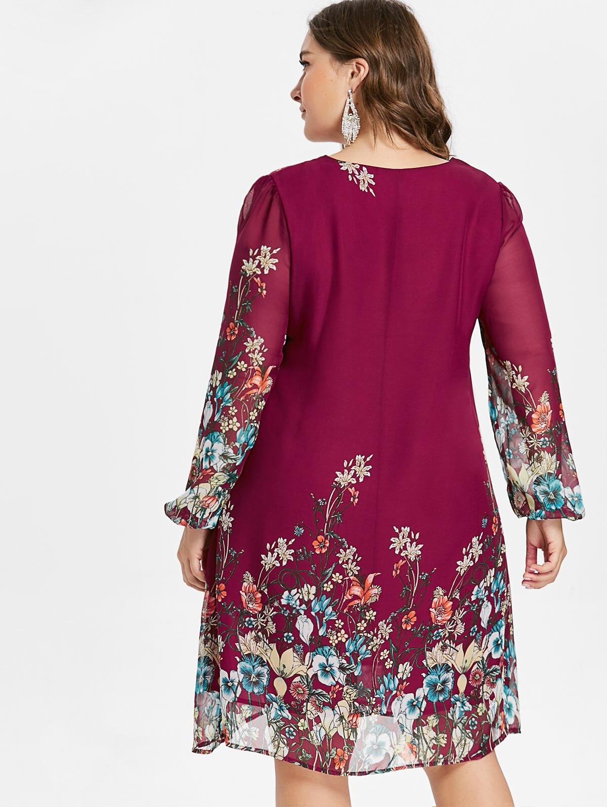 Robe grande taille à manches longues en mousseline de soie rose dos