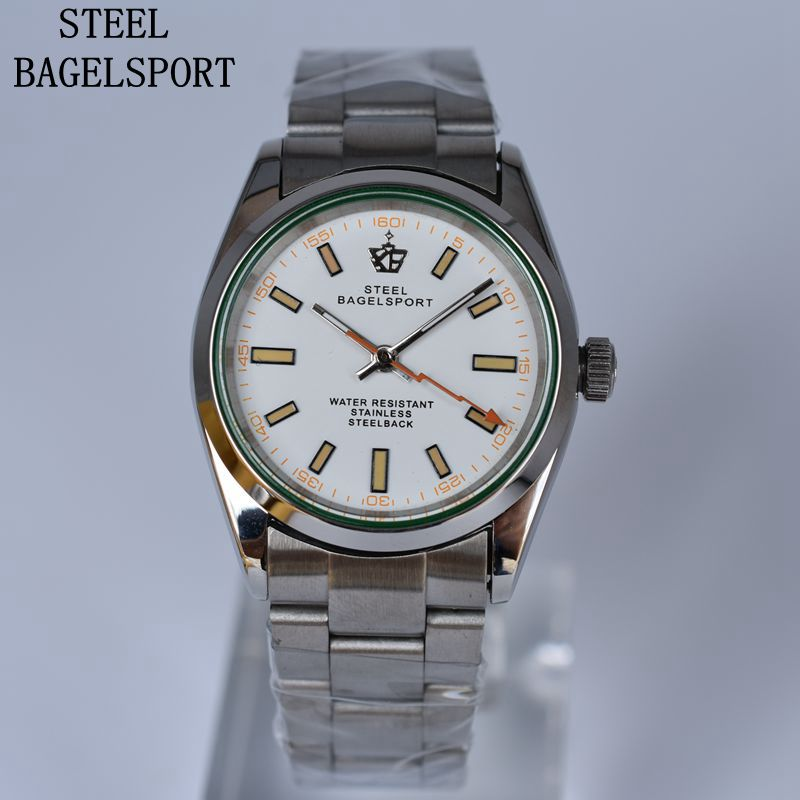 STEELBAGELSPORT Mens Watch Full Steel Top Brand Luxury Mechanical Watch Classic Elegant Male Clock Fashion Charm Bracelet Watch-in Mechanical Watches from Watches    1