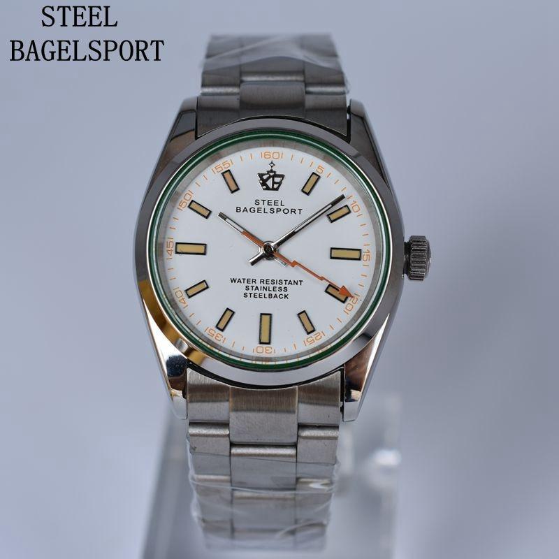 Steelbagelsport mens 시계 전체 스틸 탑 브랜드 럭셔리 기계식 시계 클래식 우아한 남성 시계 패션 매력 팔찌 시계-에서기계식 시계부터 시계 의  그룹 1