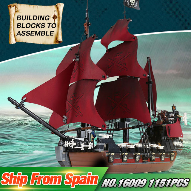 LEPIN 16009 1151Pcs Pirates Of The Caribbean 4195 Queen Anne's Reveage Set Building Blocks Bricks New Kids Toys Ship Model Gifts