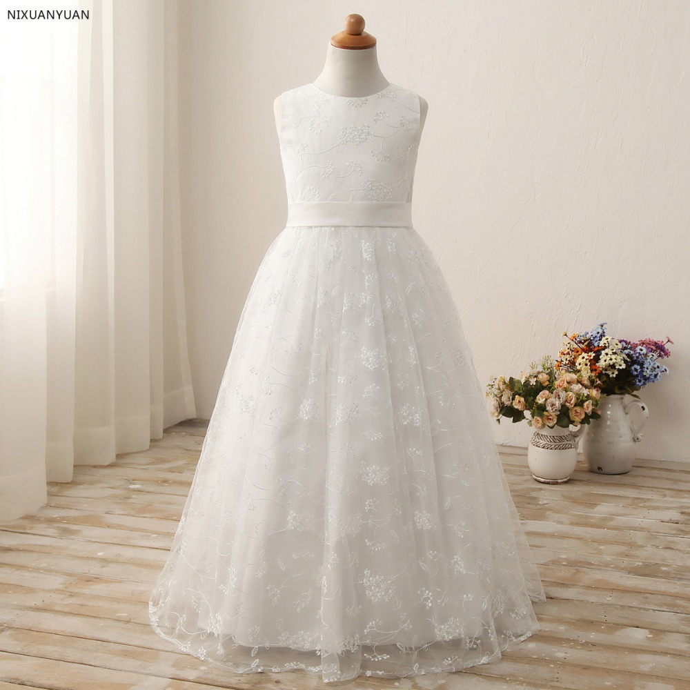 White Puffy   Flower     Girl     Dresses   First Communion   Dresses   for   Girls   Beaded Applique Kids Evening Gowns Hot Sale vestido longo