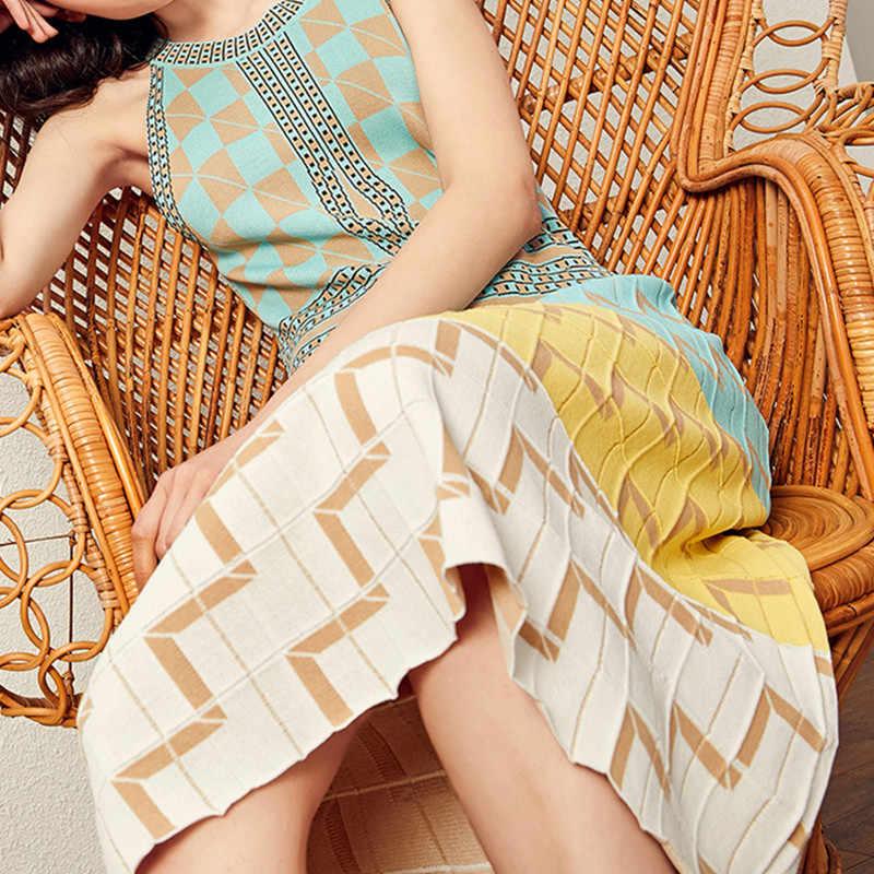 2019 Новое подиумное летнее женское трикотажное платье сексуальное, с ремешком вокруг шеи без рукавов клетчатое миди длинное платье-свитер женское Бохо vestidos