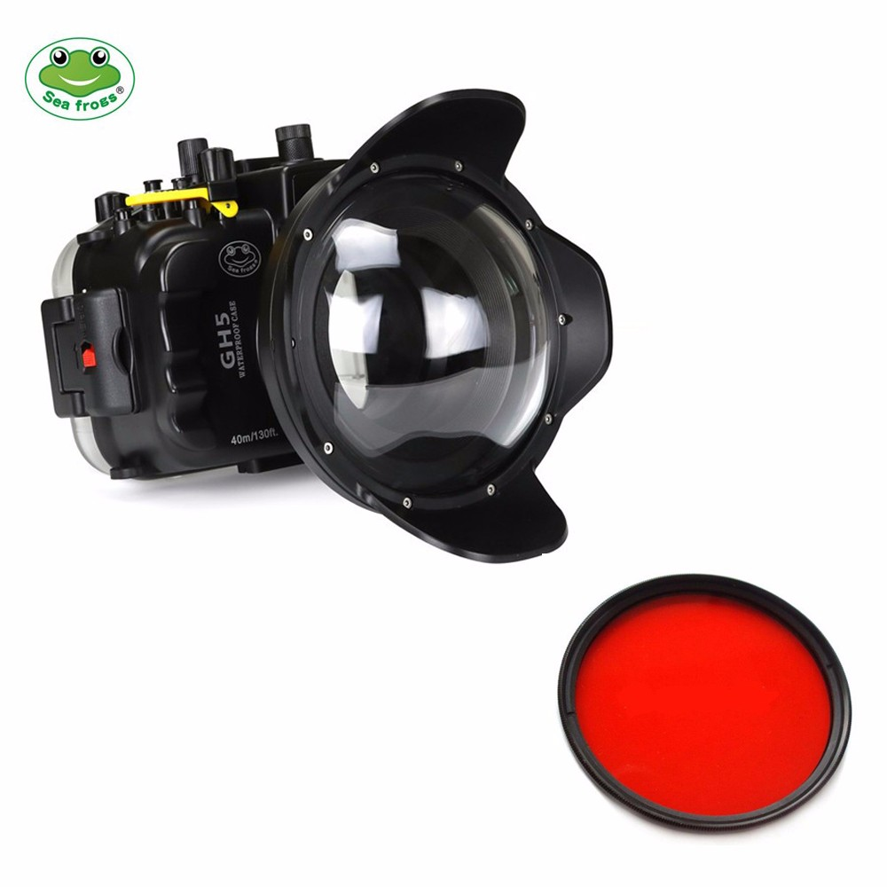 Seafrogs 40m/130ft Underwater Camera Housing Case for Panasonic GH5 with Dome Port and 67mm Red Filter meikon 40m wp dc44 waterproof underwater housing case 40m 130ft for canon g1x camera 18 as wp dc44