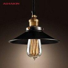 ALHAKIN Loft Style Dia 22cm Pendant Light Black Vintage Industrial Lighting American Country Copper Base Hanging Lamp