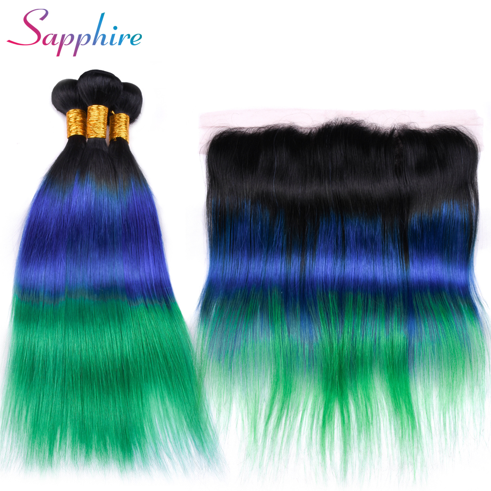 Sapphire Brazilian Straight Bundles With Frontal 13x4 Lace Frontal Closure With Bundles Remy Human Hair Ombre Color