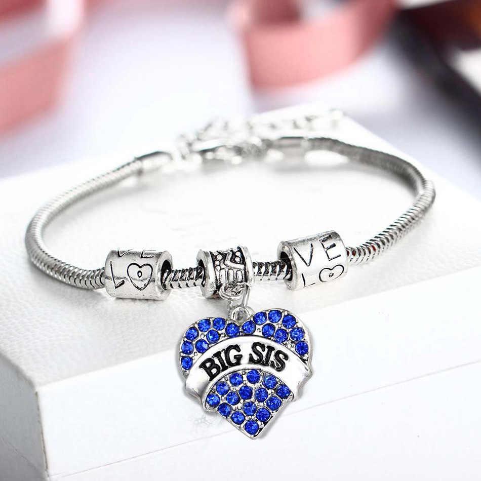 Mamá Hermana Señoras brazalete de plata pulsera con dijes elástica ala Regalo de Navidad