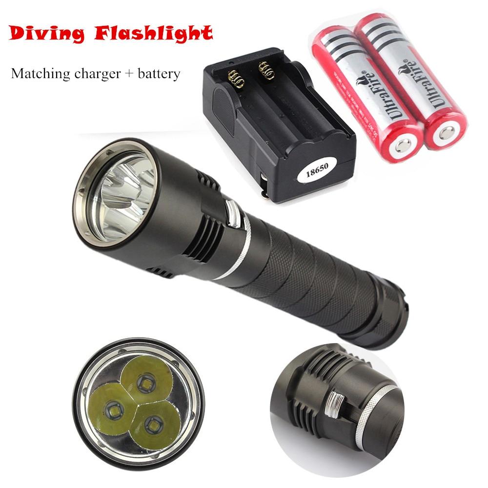 ФОТО 5800 Lumen 3 * XML U2 30W LED Diving Flashlight 120M Underwater Waterproof Diver Torch + 18650 Battery + Charger
