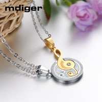 Mdiger Brand Romantic Lover Pendants Necklaces Fashion Stainless Steel Couple Necklace Long Chain Necklace Jewelry 3