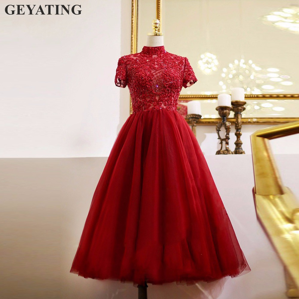 Vintage Tea Length Wine Red Lace   Evening     Dresses   2019 Elegant Beaded Crystal High Neck Short Prom Party   Dress   with Short Sleeves