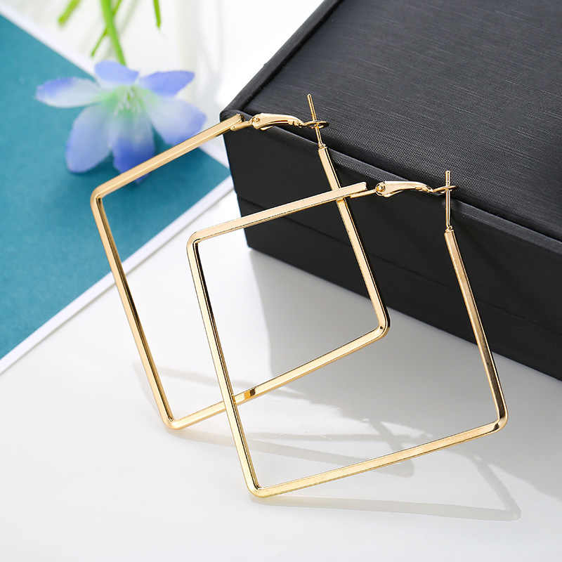 Punk Style Hyperbole Geometric Square Earrings for Women Party Jewelry Female Metal Silver Gold Large Hoop Earring