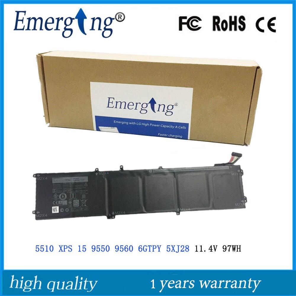 11.4 V 97WH Nouveau Original batterie d'ordinateur portable pour Dell 5510 XPS 15 9550 9560 6 GTPY 5XJ28 Précision 5510 5520 M5510 M5520 Série