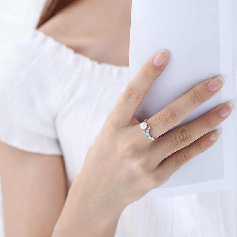 โบฮีเมียนใหญ่จริง 925 เงินสเตอร์ลิง Mermaid Tail แหวนผู้หญิงเครื่องประดับ Punk Vintage โบราณแหวนหมั้นแหวนของขวัญ