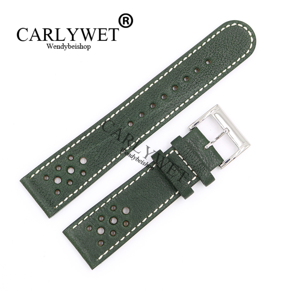 CARLYWET 22mm Wholesale Green Real Leather Handmade Replacement Thick Vintage Wrist Watch Band Strap Belt With Polished Buckle
