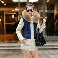 2017 Recién llegado de chaquetas de invierno 3 colores de algodón con capucha larga sección empalme casual chaquetas cálido cuello de piel de capa de la manera