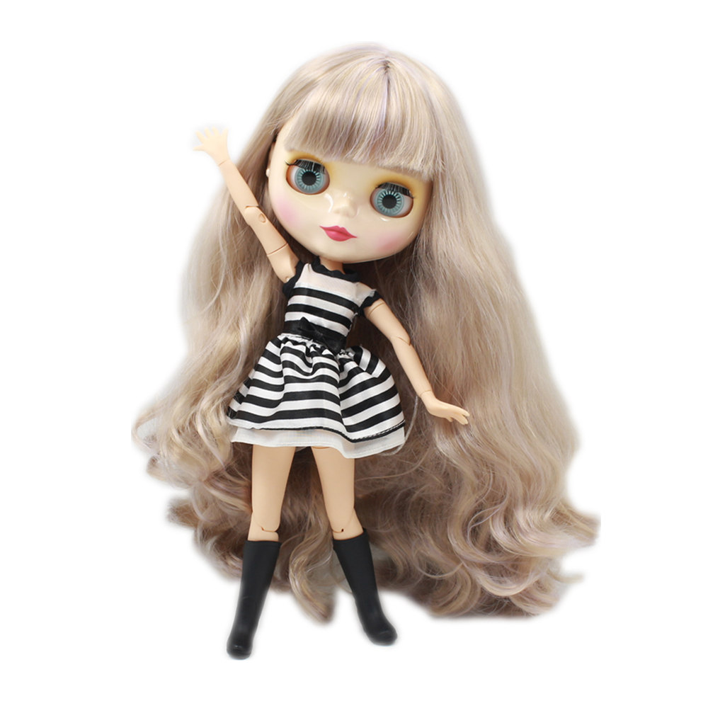 Blyth Nude Doll Joint body Wavy Long Hair with bangs Big Eyes 30cm fashion DIY makeup toys bjd blyth dolls for sale free shipping bjd joint rbl 415j diy nude blyth doll birthday gift for girl 4 colour big eyes dolls with beautiful hair cute toy