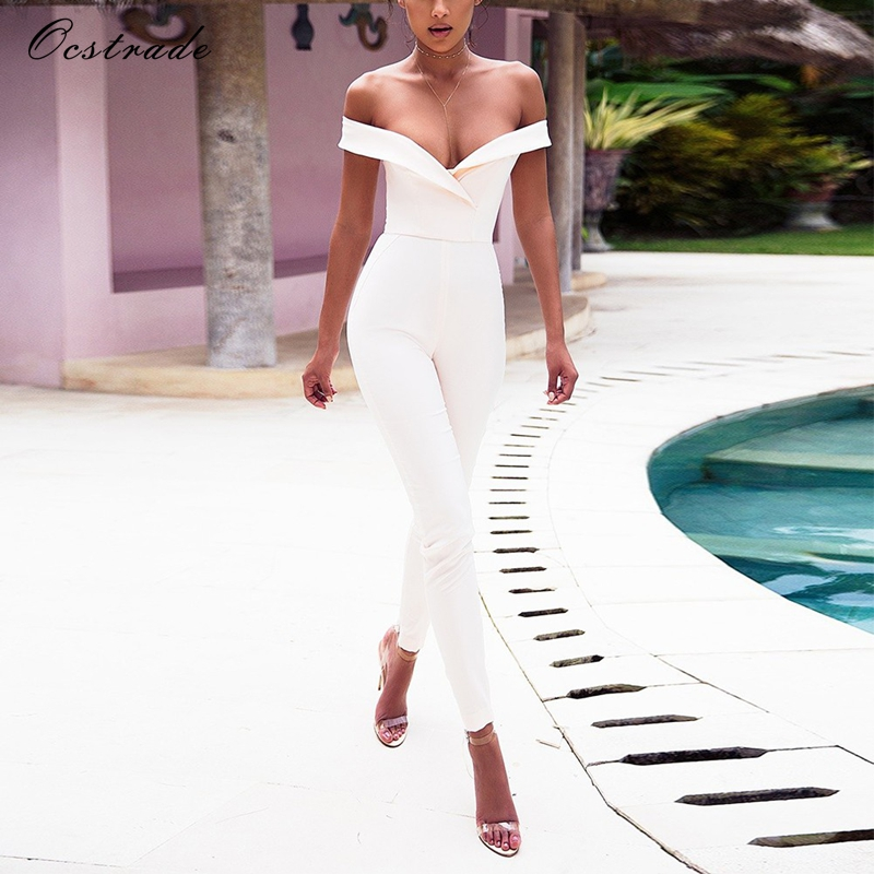Ocstrade 2017 New Arrival Sexy Jumpsuits Off The Shoudler Women Sexy White Jumpsuits Elegant