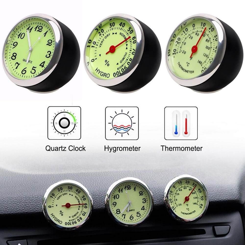 Car Clock Thermometer Hygrometer Quartz Watch Car Decoration Mini Luminous Car-Styling Ornaments Mechanics Black Silver