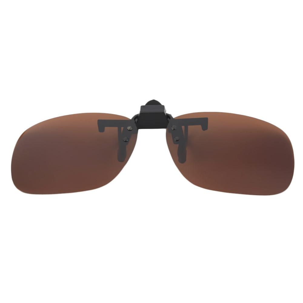 Fashion Polarized Clip On Sunglasses UV 400 TAC Plastic Metal Clip-on Flip-up Driving Glasses Lens Black/Brown Color Sunglasses