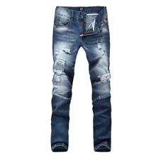 New style 2015 Plus size wholesale high quality blue slim men long pants male singers Trousers costume men's fashion dance jeans